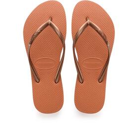 havaianas Slim Logo Sandały Kobiety pomarańczowy